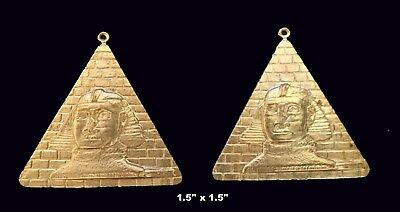 Vintage Brass Stamping / Embossed Pyramid Sphinx /Egyptian Revival  2 Pcs.