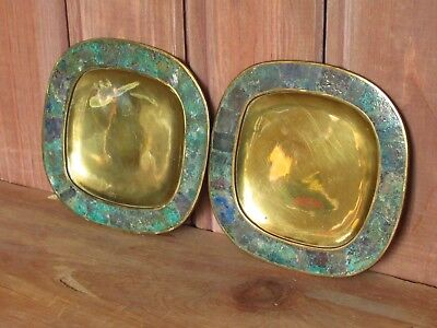 2 Vintage Mid-Century Modernist Mexico Mexican Brass And Malachite Inlay Dishes