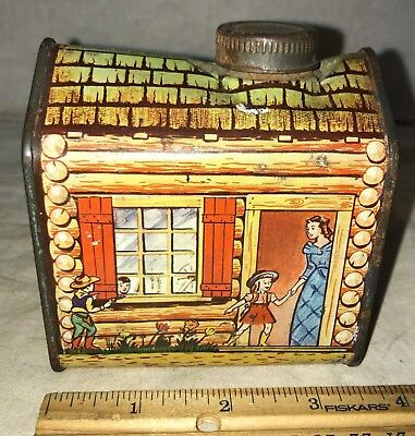 Antique Towles Log Cabin Syrup Tin Litho Can Western Boy Cowboy Cowgirl Pancakes
