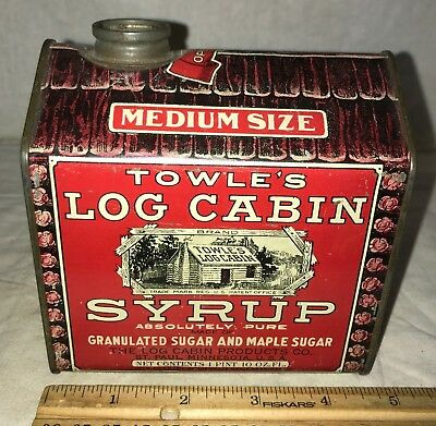 Antique Towles Log Cabin Syrup Tin Litho Medium Can St Paul Mn Pancake Breakfast