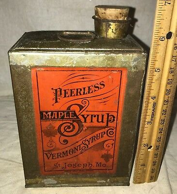 Antique Early Peerless Maple Vermont Syrup St Joseph Mo Soldered Tin Litho Can