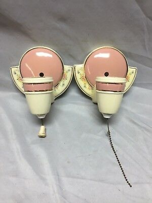 Antique Pair Pink Floral Porcelain Sconces Light Fixture Shabby Vtg Chic 506-18C