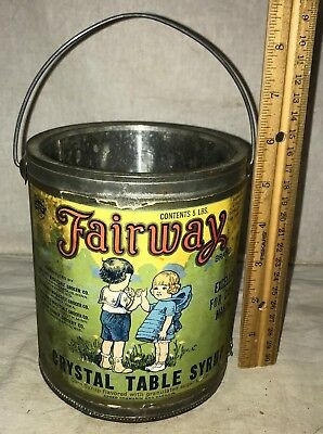 Antique Fairway Crystal Table Syrup Tin Paper Label Can Grocery Store Vintage