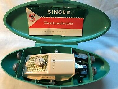 Vintage Singer Buttonholer 1960 in Green Case INSTRUCTION BOOK Sewing 9 template