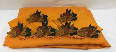 """Tablecloth Orange Oval 84"""" x 59"""" Chevron Pattern With 6 Matching Napkins Cotton"""