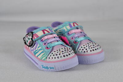Toddler Girl's Skechers S Lights Shuffles-Party Fets Sneakers White/Multi