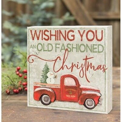 New Primitive Country VINTAGE RED TRUCK SNOWMAN Christmas Sign Block