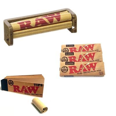 RAW COMBO Deal - 3x Packs Classic 1 1/4 Rolling Papers + 50 TIPS + 79MM Roller