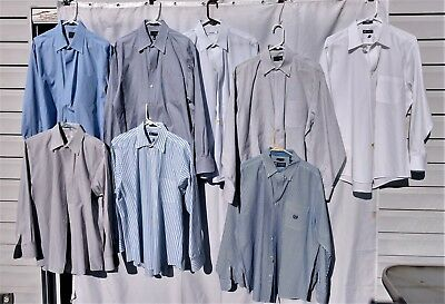 WHOLESALE LOT OF 8 DRESS CASUAL SHIRTS, CK, Chaps & Club Room 17/17.5  34-35