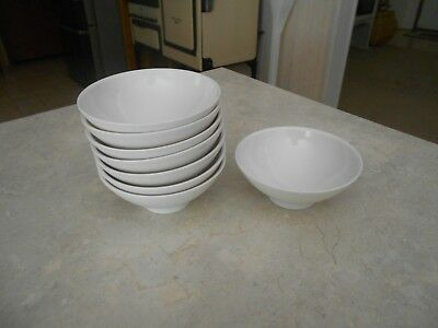 Vtg Boontonware Dishes Small Berry Bowls 8 Piece Lot  White Melmac Melamine