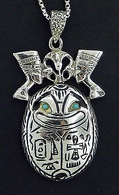 "Vintage Egyptian Silver Scarab /Nefertiti/Turquoise/24"" Chain/  REDUCED PRICE !"