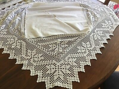 Vintage White Square Supper cloth With  Crochet Edging