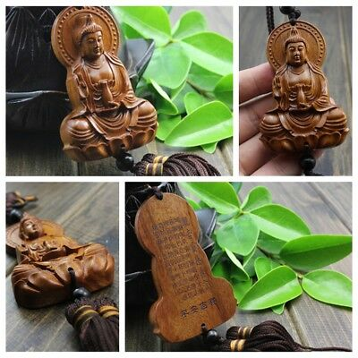 Chinese Kwan Yin Buddha Jujube Wood Carving Red Statue Sculpture Car Pendant