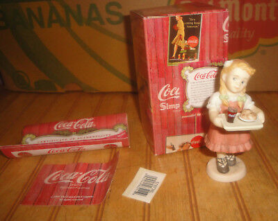 Enesco Coca Cola Simpler Days Girl w/Coke & Food on Tray Figurine