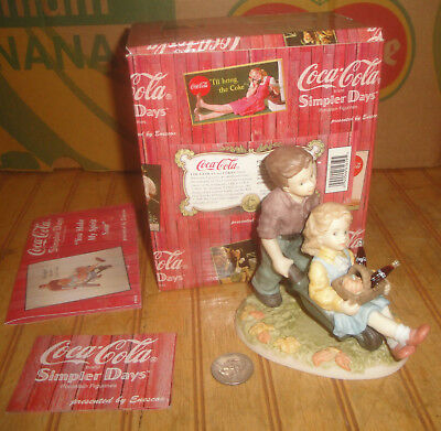 Enesco Coca Cola Simpler Days You Make My Spirit Soar Boy & Girl Barrow Figurine