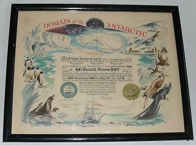 Domain of the Antarctic Large Certificate Complete SIGNED 1962 Navy DDR USS Bear