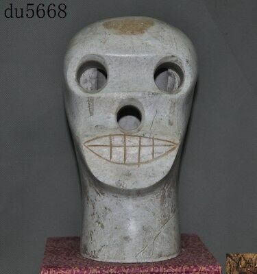 Rare Chinese Liangzhu Culture White old jade carved Cranial skeleton head statue