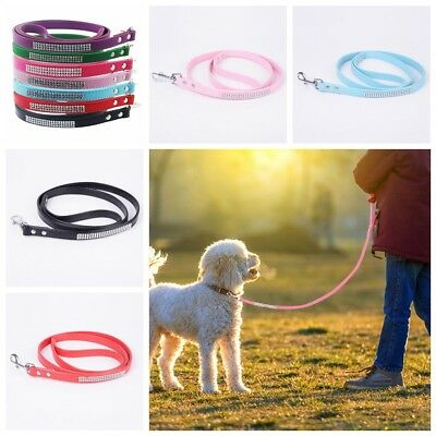 Bling Rhinestone Pet Dog Leads Leash Soft Suede Leather for Small Dogs Chihuahua