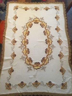 Antique EMBROIDERED TABLECLOTH Wool Arts & Crafts ART NOUVEAU 38x 57 Crochet