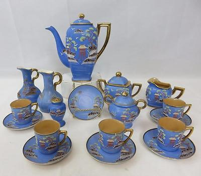 18pc Vintage JAPANESE Pretty Blue & Moriage TEA SET Pagoda Tree Birds POT CRUETS