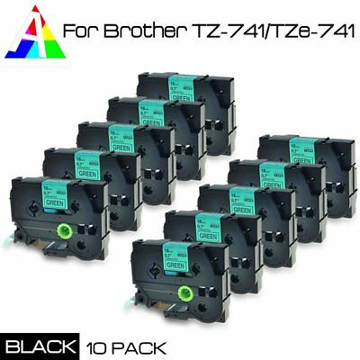 10PACK TZ741 TZe741 Black on Green 18mm Label Tape For Brother P-touch US STOCK