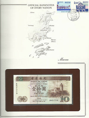 Banknotes of Every Nation Macao Macau 1995 10 Patacas P90 UNC prefix BH