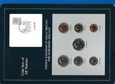 Coin Sets of All Nations Great Britain UNC 1£, 1,2,5,10,20,50p 1986 Low Mintage