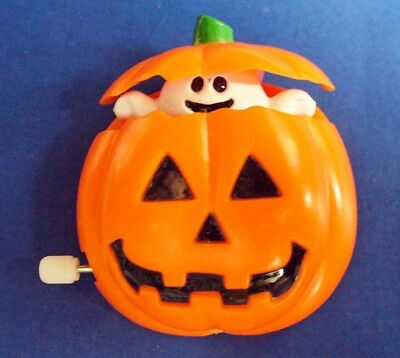 Fun World PIN Halloween 👻WIND UP Ghost in JOL PUMPKIN Vtg Holiday