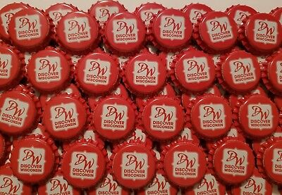 100 Red Discover Wisconsin Sprecher Soda Bottle Caps (No Dents)