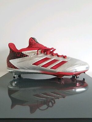 f1332e9cf58 Adidas Adizero Afterburner 4 Faded Baseball Cleats Metallic Silver Red  (BY3676)