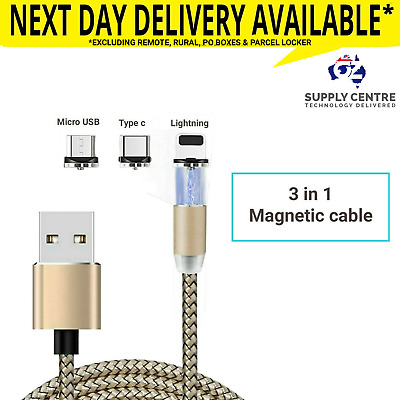 Magnetic Charger Charging Cable Fast Micro USB lightning type c Samsung iPhone