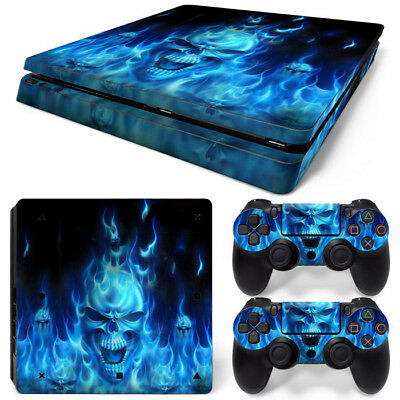 BLUE FIRE PS4 SLIM Skin Decal Sticker For PlayStation 4 SLIM Console Controllers