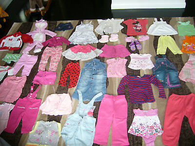 Huge Bulk Lot Baby Toddler Girls 6 Months to 4 Years Summer Clothes 60+ Pieces