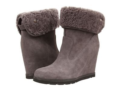 97ccc9270c06 Women UGG Kyra Wedge Water Resistant Boot 1009318 Grey Suede 100% Authentic  New