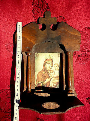 ANTIQUE Old wooden Orthodox iconostasis print icon of Virgin Mary and Child