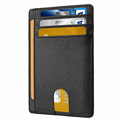 Slim Minimalist Front Pocket RFID Blocking Genuine Leather Wallets for Men Women