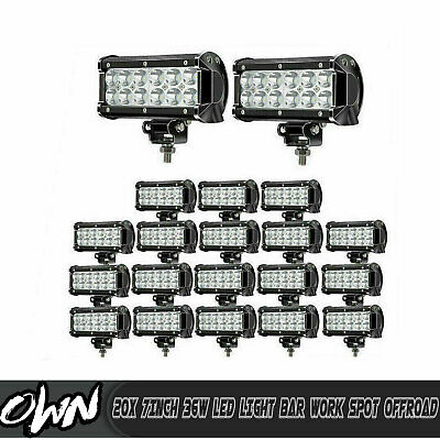 20x 7inch 360W LED Light Bar 2-Row Work Driving Spot Combo Pods Offroad Fog Lamp