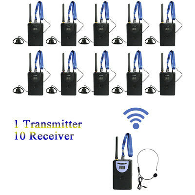 2.4Ghz Wireless Audio Tour Guide System 1 Transmitter 10 Receiver Earphone G9J5