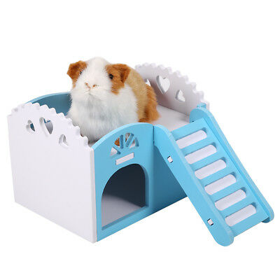 Wood Guinea Pig Hamster Pet Hammock Bed Nest House Cage Toys Small Animals US