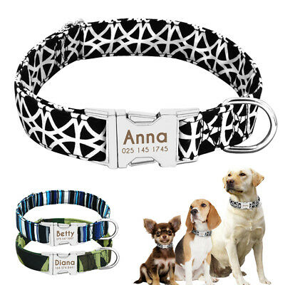 Engraved Heavy Buckle Personalised Nylon Dog Collar for Dogs Puppy Custom Name