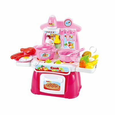 Pink Kids Chef Kitchen Cooking Pretend Role Play Toy Set with Sound and Light