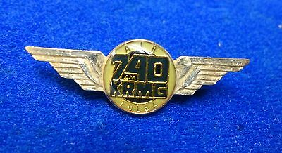 New KRMG Conservative Radio Oklahoma AM740 Air Tulsa Pilot Wings Cox Media Pin z