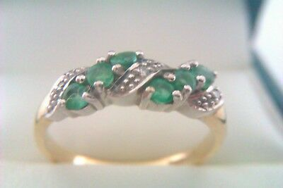 Beautiful Vintage 9ct Gold Emerald & Diamond Ladies Ring Circa 1995