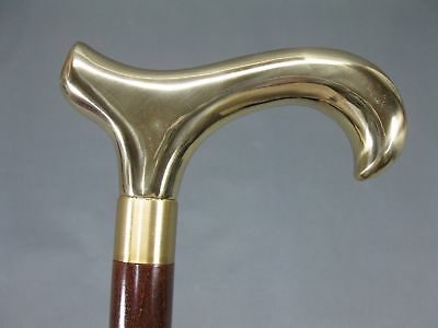 Brass Handle Vintage Style Wooden Shaft Walking Cane Stick Victorian Style Gift