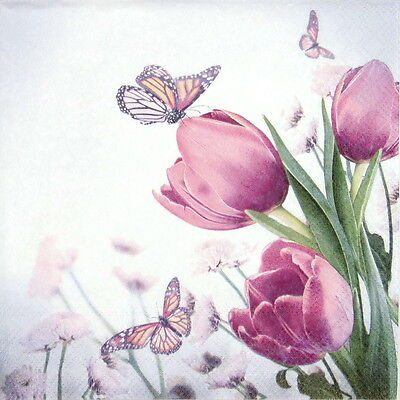 4x Paper Napkins -Butterfly & Tulips- for Party, Decoupage