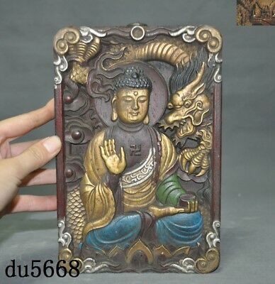 Tibetan temple Old Wood Painted carved Dragon Sakyamuni Tathagata tangka thangka