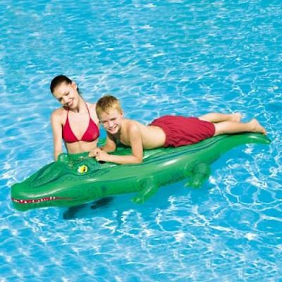 """Inflatable Blow Up 66"""" x 31"""" Childrens Crocodile Swimming Pool Lilo Float Rider"""