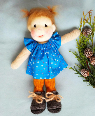 Knitted Waldorf Doll Girl with Blue Snowflake Dress - Brand New Custom Created