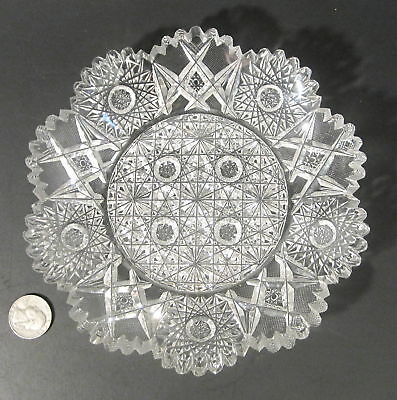 "Antique HUNT AMERICAN BRILLIANT Cut Glass ROYAL Russian Pattern 7.25"" Plate ABP"