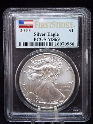 "2010 American Silver Eagle $1 ASE PCGS MS69 ""First Strike"" ECC&C, Inc."